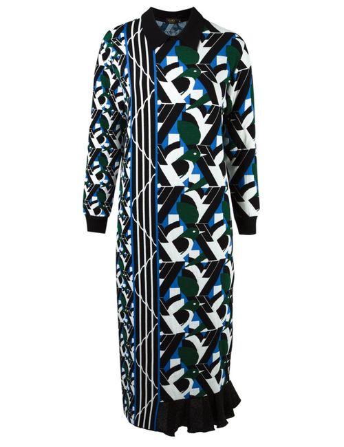 Gig | Женское Зелёный Asymmetric Pattern Knit Dress