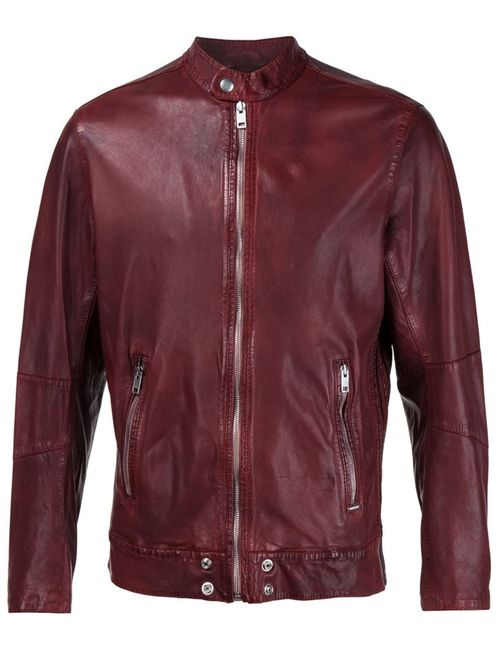 Diesel | Мужская Красная Кожаная Куртка На Молнии