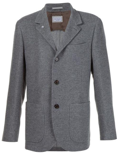 Brunello Cucinelli | Мужское Серый Three Button Blazer