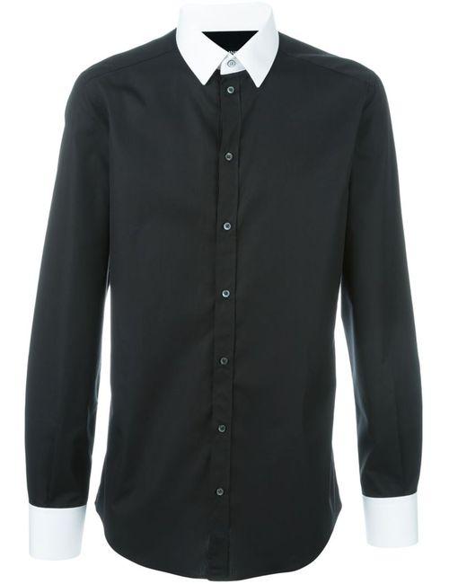 Dolce & Gabbana | Мужская Чёрная Рубашка С Контрастным Воротником