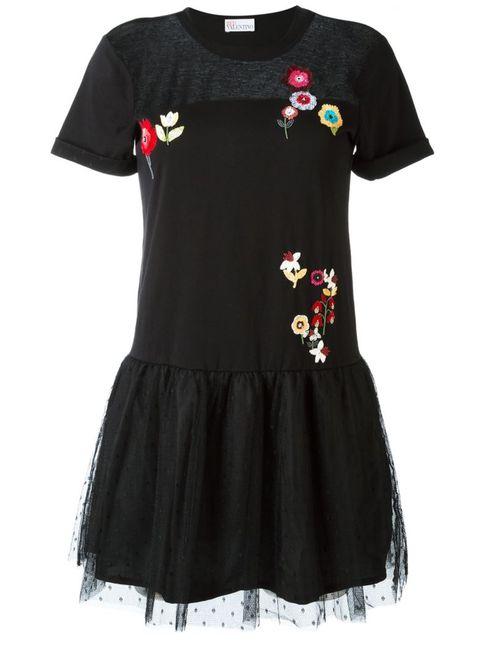 Red Valentino | Женское Чёрное Расклешенное Платье С Цветочной Вышивкой
