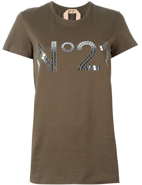 No21 | Женская Зелёная Футболка С Принтом Логотипа