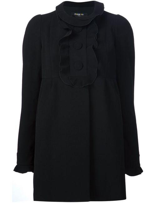Paule Ka | Женское Чёрный Ruffle Detail Coat