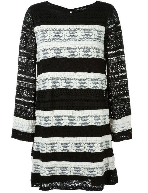 Twin-set | Женское Чёрное Полосатое Трикотажное Платье