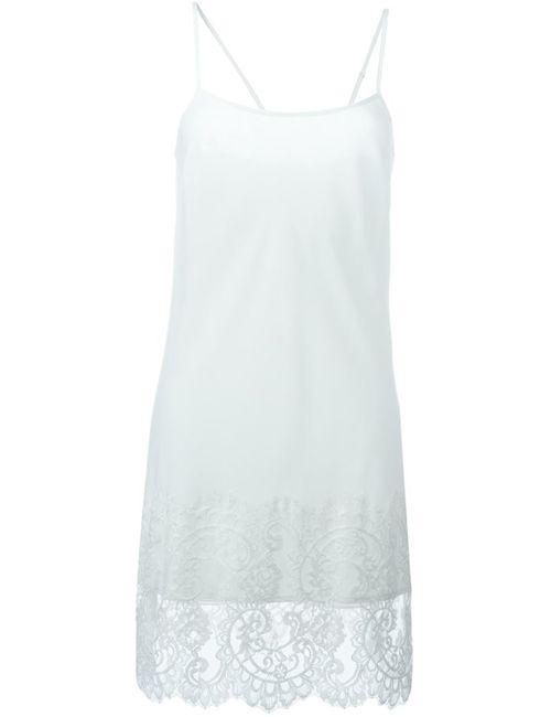 Twin-set | Женское Белое Платье На Бретелях С Кружевной Отделкой