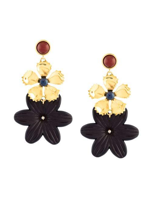 LIZZIE FORTUNATO JEWELS   Женское Чёрный Oversized Flower Earrings