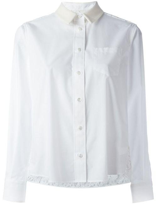 Sacai | Женская Белая Рубашка С Кружевными Вставками