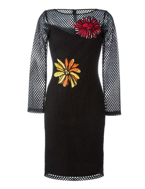 BOUTIQUE MOSCHINO | Женское Чёрный Fishnet Flower Patch Dress