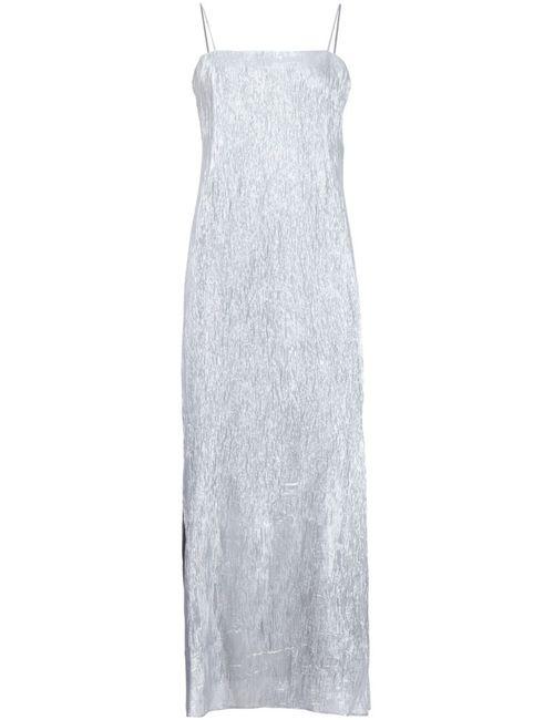 Adam Lippes | Женское Серебристое Платье Миди С Отделкой Металлик
