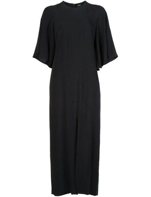 Adam Lippes | Женское Чёрное Платье С Расклешенными Рукавами