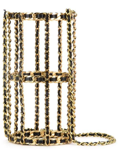 Chanel Vintage | Женская Серебристая Сумка-Клетка На Плечо