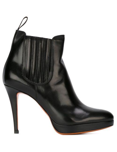 Santoni | Женские Чёрные Ботинки На Шпильке