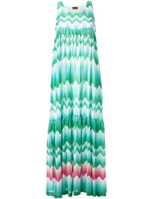 Missoni | Женское Зелёное Платье Зигзагообразной Вязки