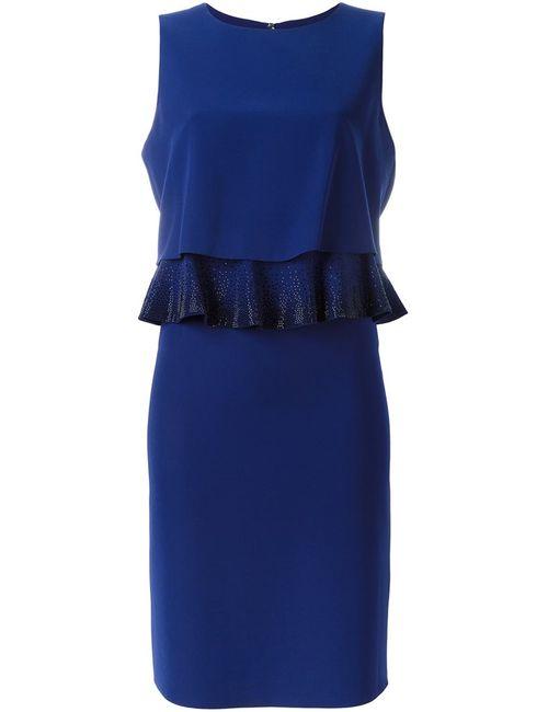 Armani Collezioni | Женское Синее Платье С Многослойным Декорированным Верхом
