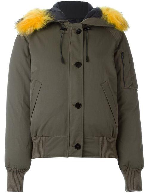 Kenzo | Женское Зелёный Raccoon Fur Trim Puffer Jacket