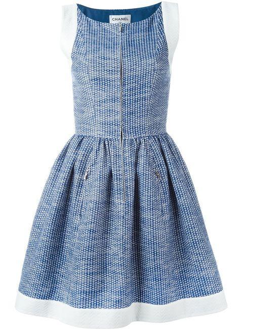 Chanel Vintage | Женское Синее Платье С Расклешенной Юбкой