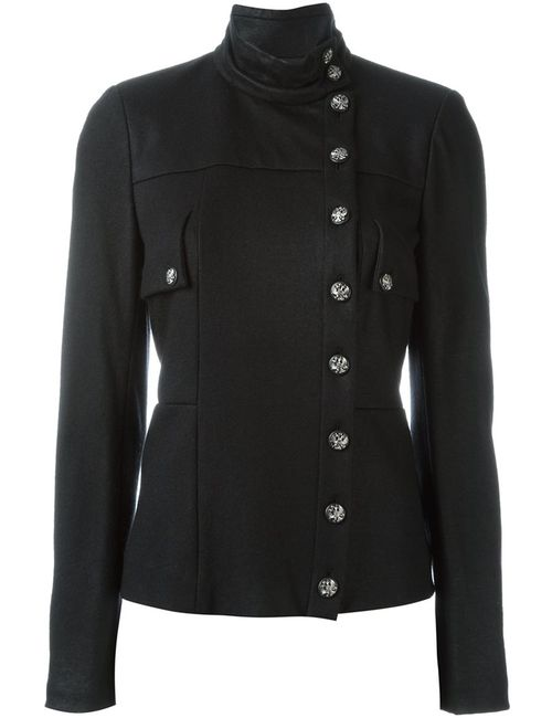 Chanel Vintage | Женская Чёрная Куртка Со Смещенной Застежкой