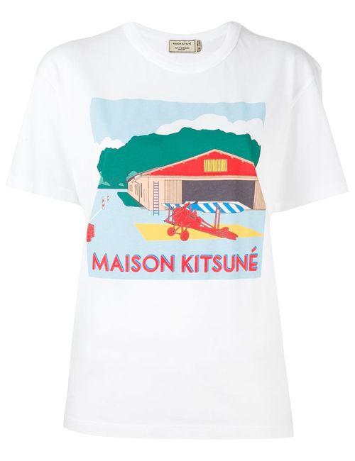 Maison Kitsune | Женская Белая Футболка С Принтом Ангара