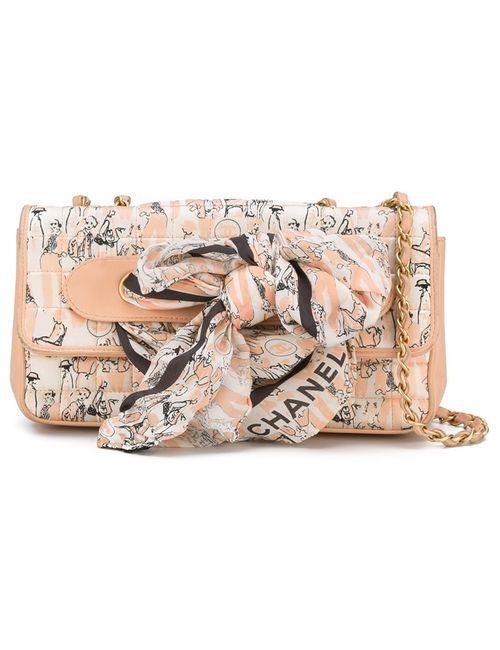 Chanel Vintage | Женская Розовая Сумка На Плечо С Элементом Шарфа