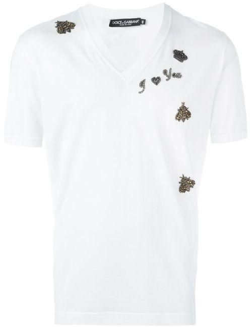 Dolce & Gabbana | Мужское Белый Embroidered Patch T-Shirt
