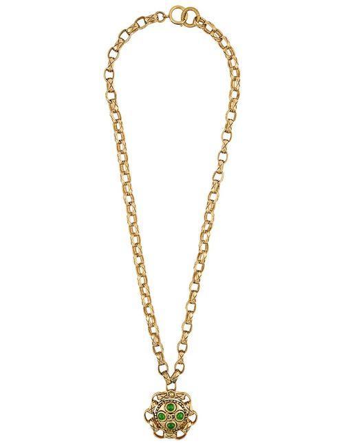 Chanel Vintage   Женское Серебристое Длинное Ожерелье С Подвеской