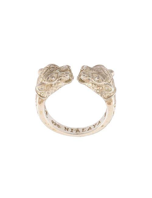 Nialaya Jewelry | Женское Серое Кольцо В Виде Голов Пантер
