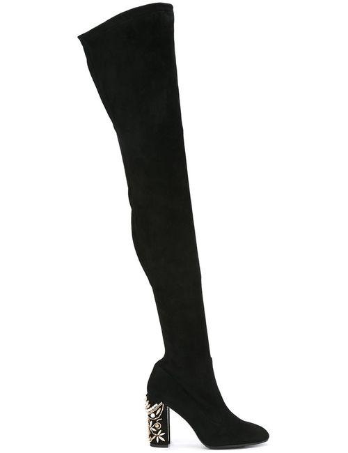 Rene' Caovilla | Женские Чёрные Ботфорты С Декорированным Каблуком