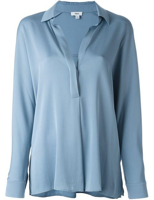 Vince   Женская Синяя Рубашка С Планкой