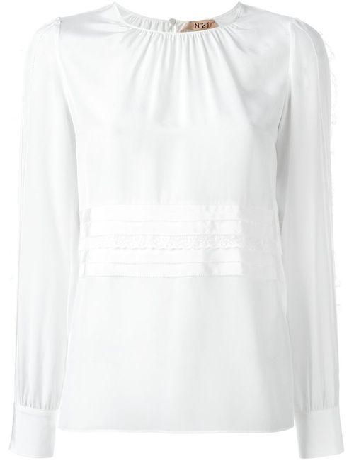 No21 | Женская Белая Блузка С Кружевной Отделкой