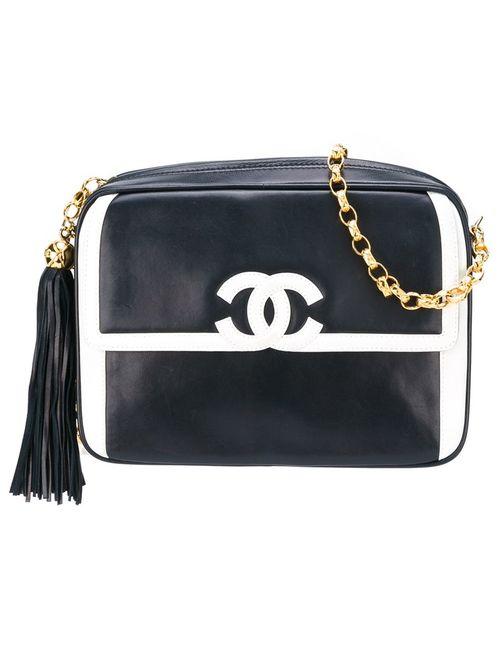 Chanel Vintage | Женская Синяя Сумка На Плечо С Контрастным Логотипом