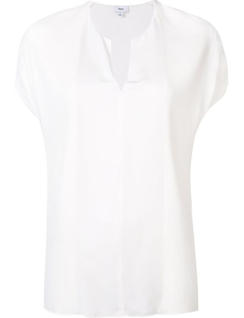 Vince   Женская Белая Блузка C V-Образным Вырезом