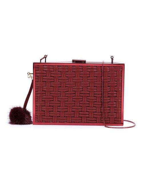 Monique Lhuillier | Женский Красный Плетеный Клатч С Помпоном