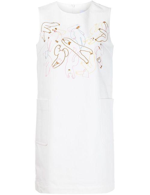 MINJUKIM   Женское Белое Платье С Вышивкой