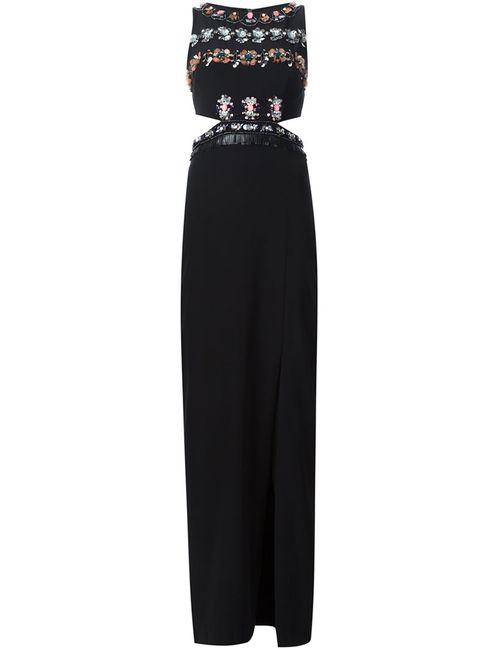 Nicole Miller | Женское Чёрное Платье Макси С Разрезом