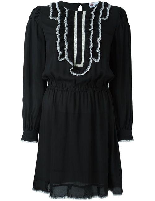 Red Valentino | Женское Черный Платье С Контрастными Рюшами