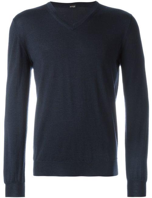 Kiton | Мужское Синий V-Neck Sweater