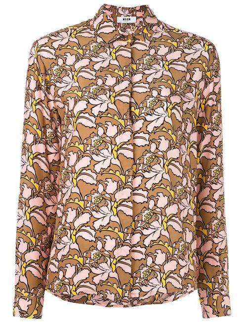 MSGM | Женская Розовая Блузка С Цветочным Узором