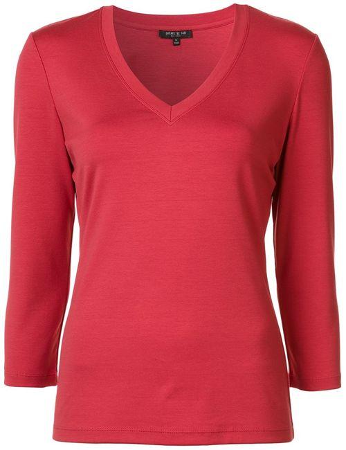 Lafayette 148   Женское Красный V-Neck T-Shirt