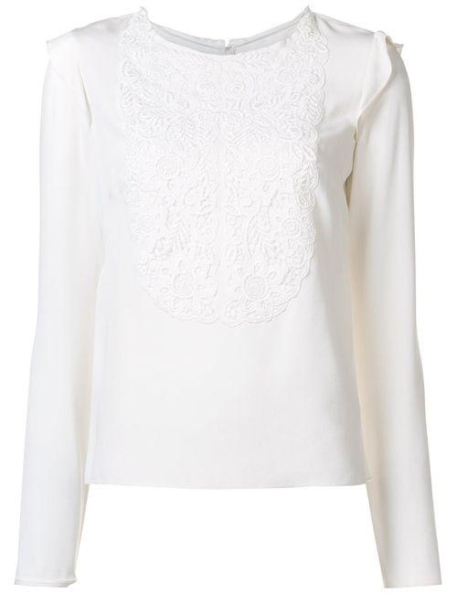 Monique Lhuillier | Женская Белая Блузка С Вышитым Нагрудником