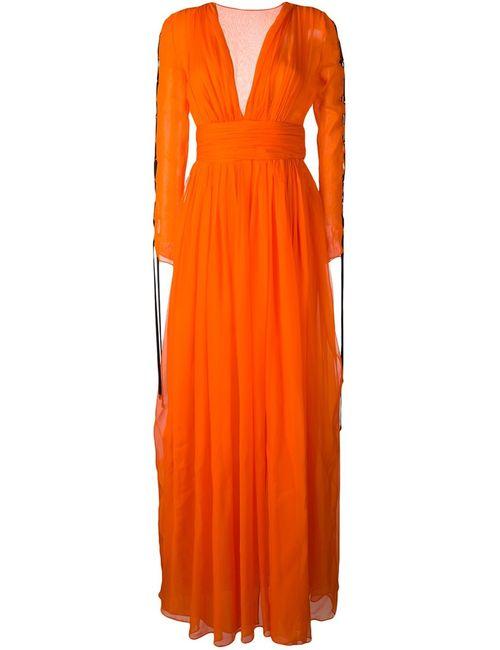 Fausto Puglisi | Женское Жёлтое Длинное Платье С V-Образным Вырезом