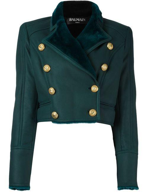 Balmain | Женская Зелёная Укороченная Двубортная Куртка