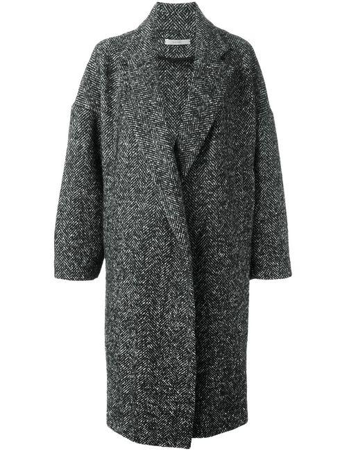 DUSAN | Женское Чёрное Объемное Пальто В Елочку