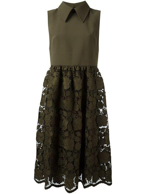 No21 | Женское Зелёное Платье С Кружевной Юбкой