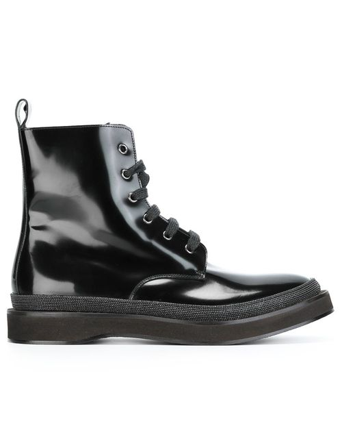 Brunello Cucinelli | Женские Чёрные Ботинки По Щиколотку