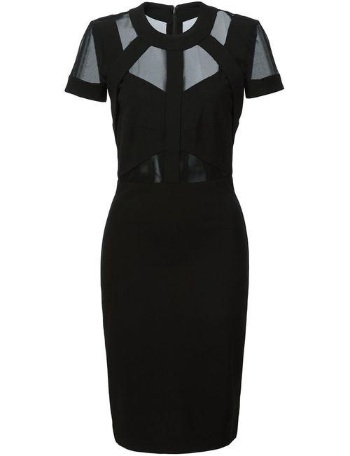 Nicole Miller   Женское Чёрное Облегающее Платье С Полупрозрачными Вставками