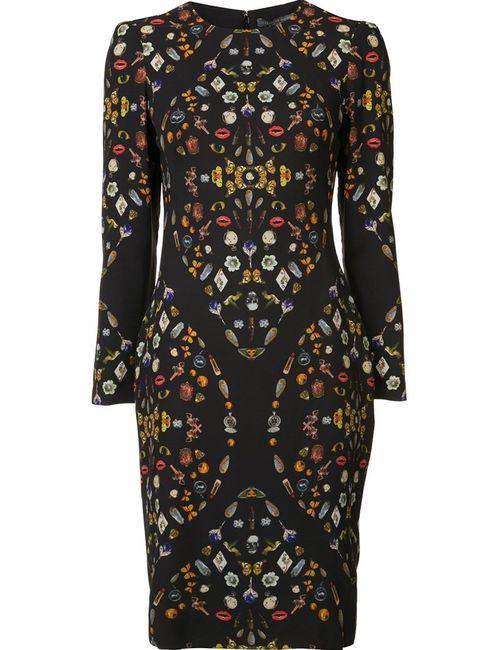 Alexander McQueen | Женское Чёрное Платье С Рисунком Obsession