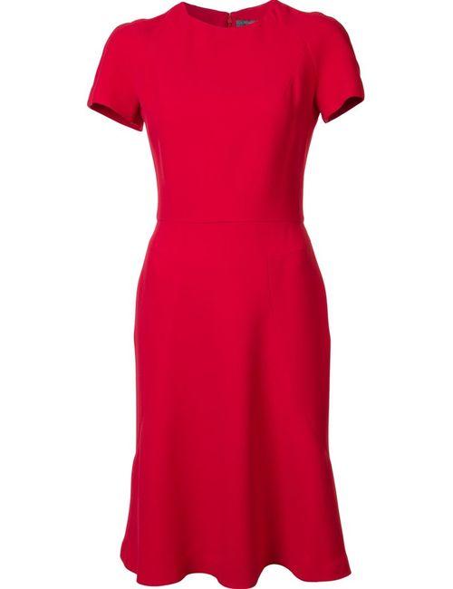 Alexander McQueen | Женское Красное Расклешенное Платье С Короткими Рукавами