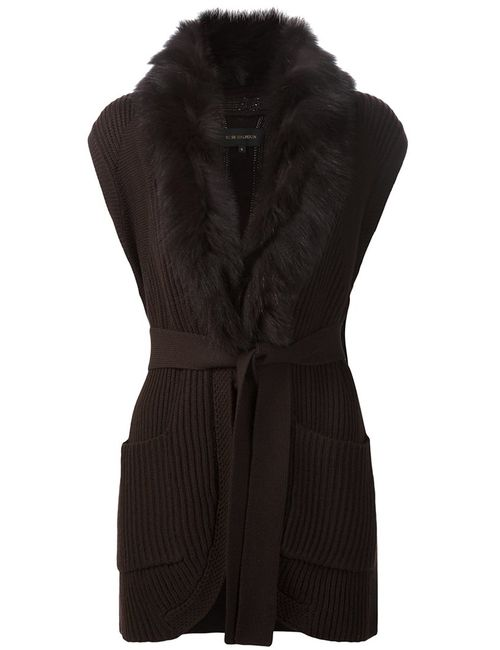 Kobi Halperin | Женское Коричневый Fox Fur Trim Cardigan