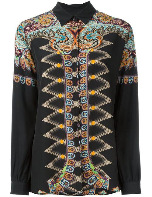 Etro | Женская Чёрная Рубашка С Абстрактным Принтом