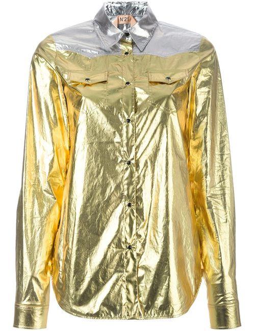 No21 | Женская Серебристая Рубашка С Эффектом Металлик